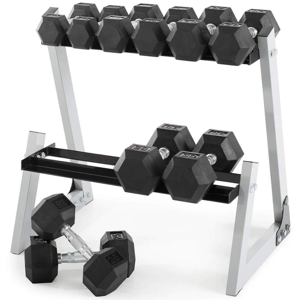 Weider 200lb Rubber Hex Dumbbell Set With Rack